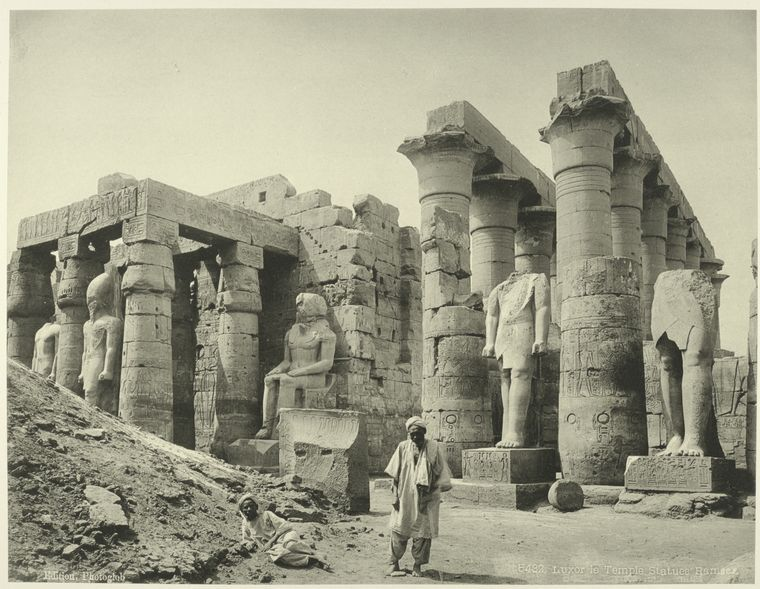 Ramses statues luxor temple egypt Rare Old Photos of Egypt